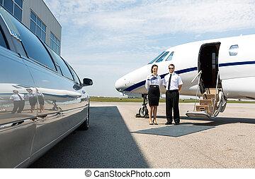 vuelo, asistente, y, piloto, ordenado, limusina, y, privado,...