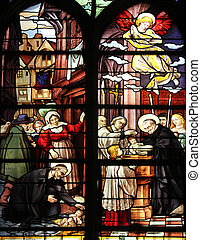 Saint Vincent de Paul raising a newborn and christening,...
