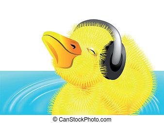 duckling with headphones on her head