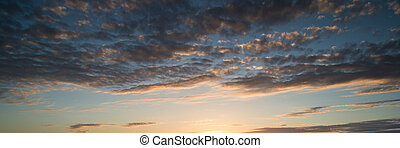Beautiful panorama sunrise blue sky