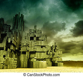 Stronghold - Fantastic gloomy landscape with castle...