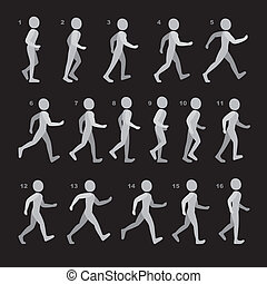 Phases of Step Movements Man in Walking Sequence for Game...