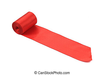Red silk ribbon roll Isolated on a white background