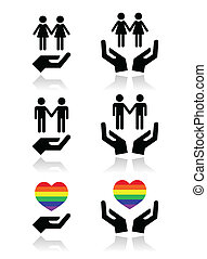 Gay and lesbian couples, rainbow - GBLT community rights...