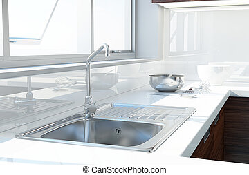 Modern white kitchen with sink and window