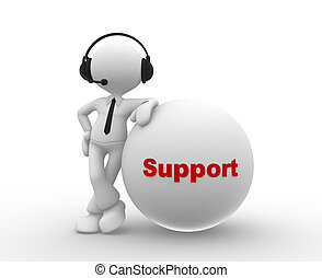 Support - 3d people - man, person with headphone and word...