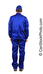 Worker in blue workwear Back view Isolated on a white...