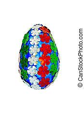 Páscoa, flores, ovo,  Sequins, forma