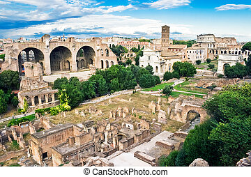 Roman Forum - Ancient ruins of the Forum in Rome, Italy