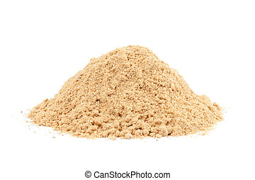 Pile of Ground Ginger (Zingiber officinale) isolated on...
