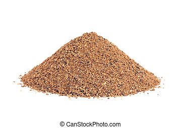 Pile of Nutmeg powder Myristica fragrans isolated on white...