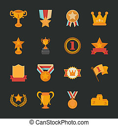 Prizes & Awards icons , flat design , eps10 vector format