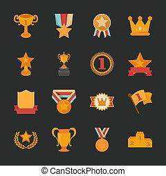 Prizes & Awards icons , flat design