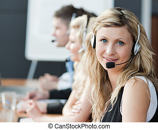 business people working - business people on headsets
