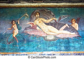 Venus fresco in Pompeii - Roman wall painting Venus in...