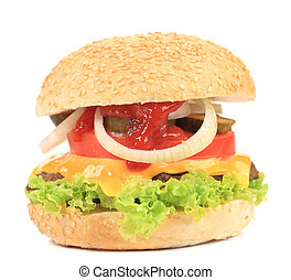 Appetizing fast food hamburger.
