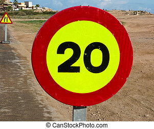 Road Sign - 20 Kph speed limit sign on Spainish roadside