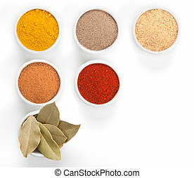 Different spices in white bowls isolated on white...
