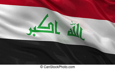 Flag of Iraq - seamless loop - Flag of Iraq gently waving in...