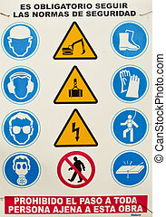 beware of multiple danger sign in Spain
