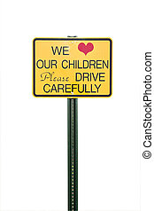 Caution sign for children playing in area