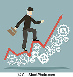 flat design style businessman goes to success on infographic and gears icons vector