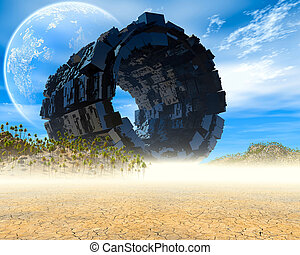 UFO - Fantasy landscape with ruined spaceship