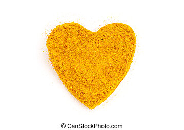 Heap ground Curry (Madras Curry) isolated in heart shape on...