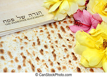 spring holiday of Passover and its attributes, with matzo...