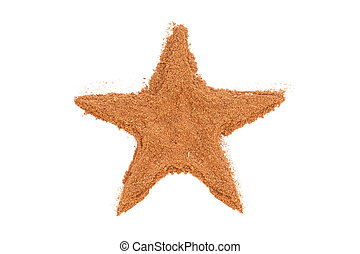 Heap of ground Cinnamon isolated in star shape on white background.  As a spice or condiment cinnamon sold in the form of sticks or a hammer. Used as a spice in cuisines all over the world.
