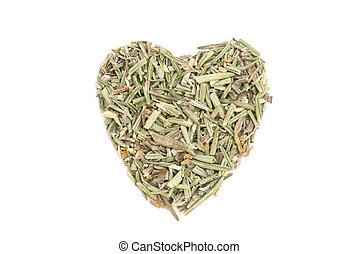 Rosemary (Rosmarinus officinalis) isolated in heart shape on...
