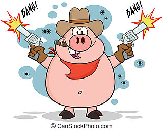 Cowboy Pig Shooting With Two Guns