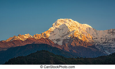 The Annapurna South in Nepal at sunrise