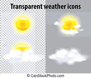Transparent weather icons - Sun and clouds in transparent...