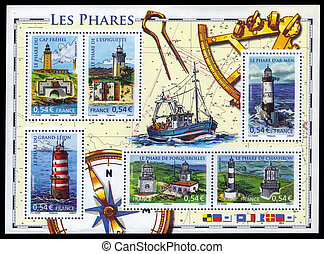 french lighthouses - FRANCE - CIRCA 2007: A souvenir sheet...