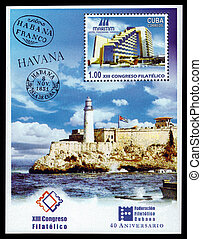 lighthouse in Cuba - Cuba - CIRCA 2004: A souvenir sheet...