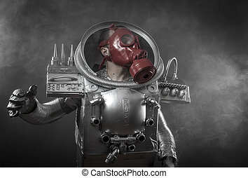 Astronaut with red gas mask on a black background with huge...