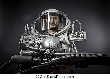 Science, Astronaut on a black background with huge weapon.