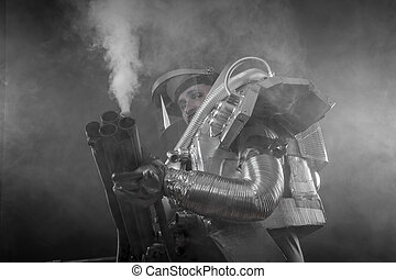 Exploration, Astronaut on a black background with huge...