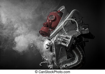 Astronaut with gas mask on a black background with huge...