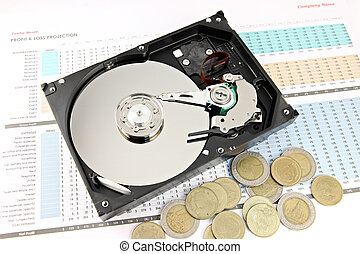 Hard drive Open the top cover off on Business graph - Hard...
