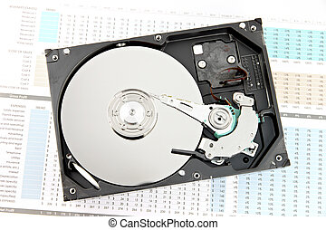 Hard drive Open the top cover off on Business graph - The...