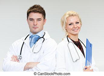 Doctors interacting