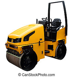 Modern yellow road-roller