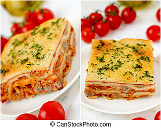 Italian lasagna collage. Set. - Italian lasagna collage with...
