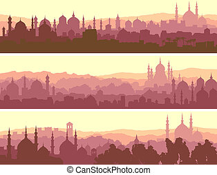 Horizontal banners big arab city. - Horizontal abstract...