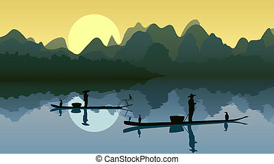 Fisher on lake against sun. - Vector illustration of...