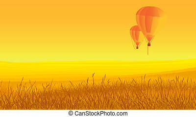 Two air balloons, ground, sunset. - Vector horizontal...
