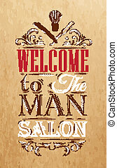 Poster Barbershop welcome to the man salon in a retro style...