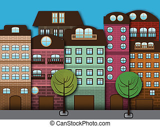 Cartoon city - Vector illustration of cartoon city